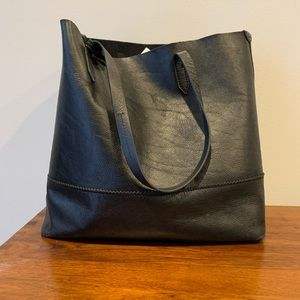 J Crew Downing black leather tote